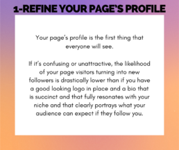 Tip 1 - Refine your page profile