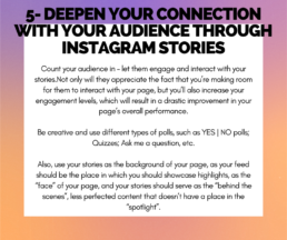 Tip 5 - Deepen your connection with your audience through Instagram stories